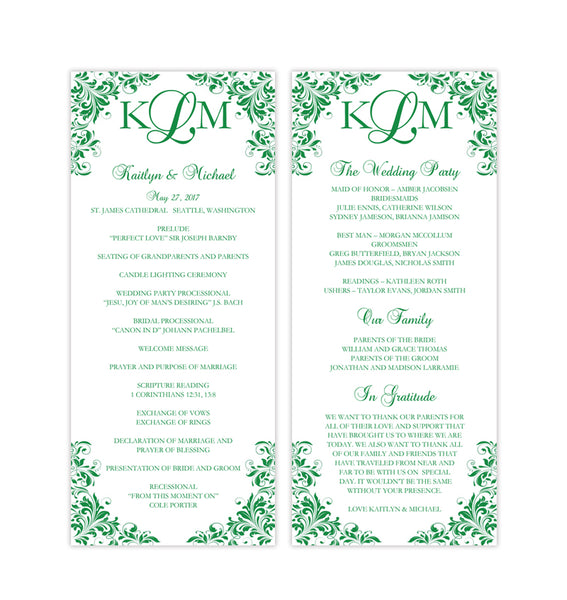 Slim Wedding Program Kaitlyn Emerald Green Printable DIY