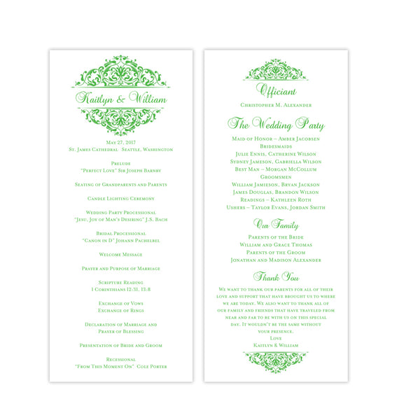 Slim Wedding Program Grace Kelly Green Printable DIY