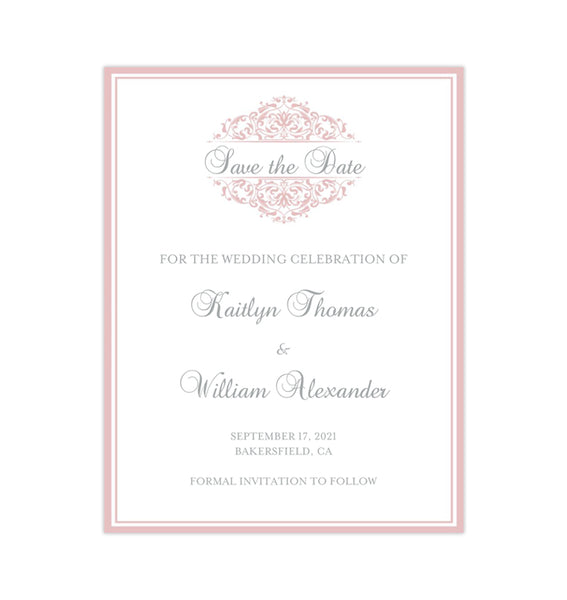 Wedding Save the Date Cards Grace Blush Pink Printable DIY