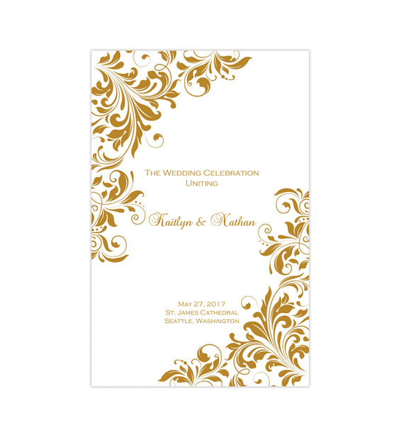 Wedding Program Template Kaitlyn Gold Printable DIY