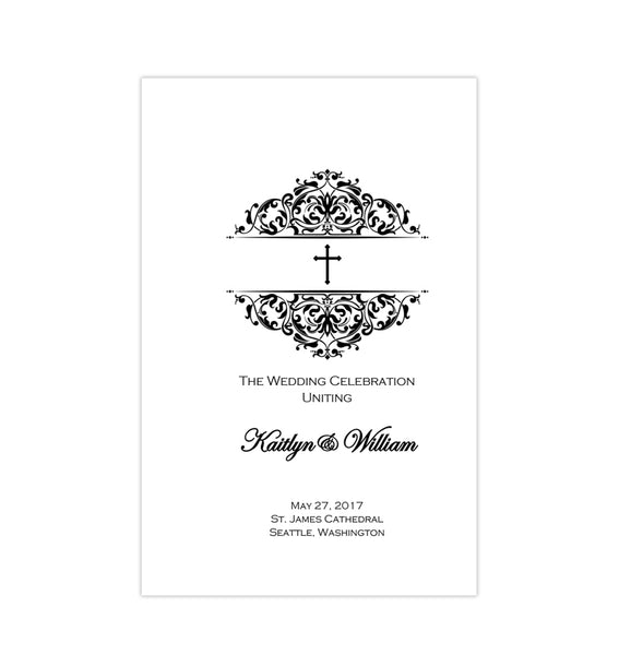 Catholic Church Wedding Program Grace Black White Printable DIY