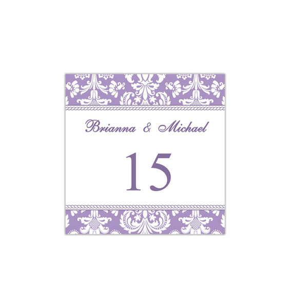 Printable Table Number Template Damask Lavender Purple Tent DIY Wedding Templates