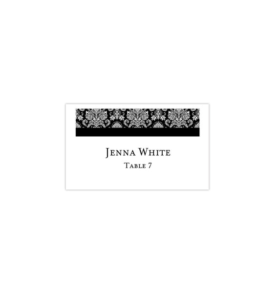 Wedding Seating Card Damask Black Tent Printable DIY Templates