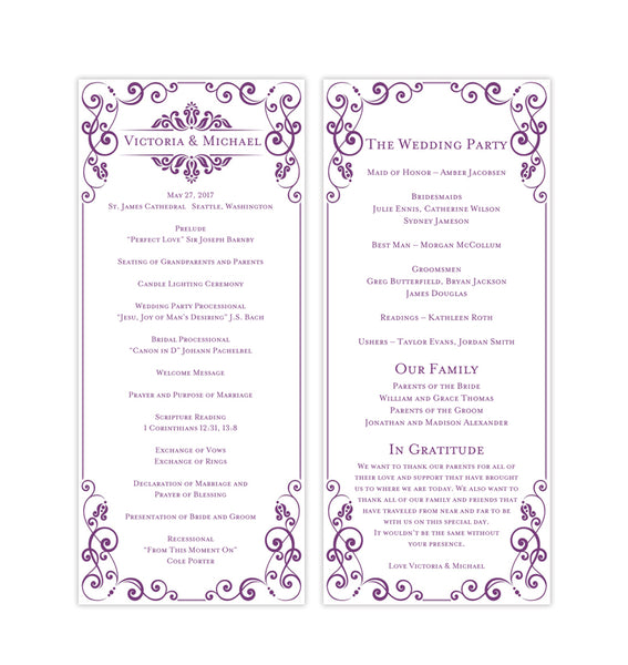 Slim Wedding Program Julia Purple Printable DIY Templates