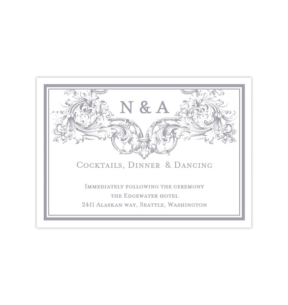 Wedding Reception Invitations Vienna Gray Printable DIY Templates