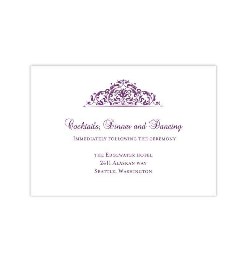 wedding reception invitation grace purple wedding template shop