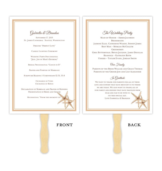 Wedding Program Fan Beach Starfish Sand Printable DIY Templates