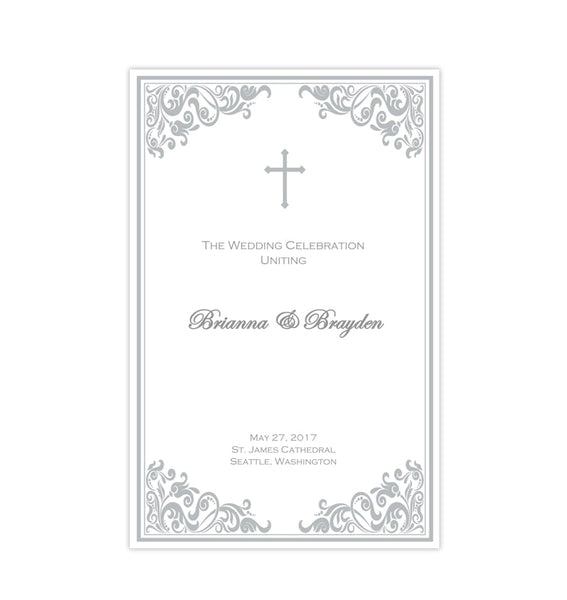 Catholic Church Wedding Program Faith Silver Printable DIY