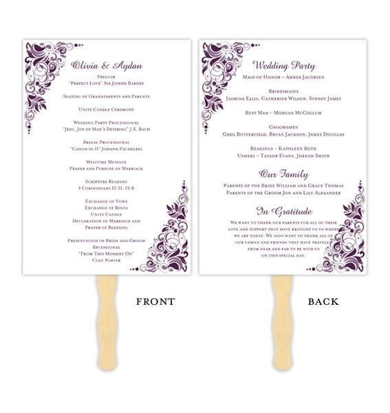 Wedding Program Fan Gianna Dark Purple Wisteria Printable DIY Template