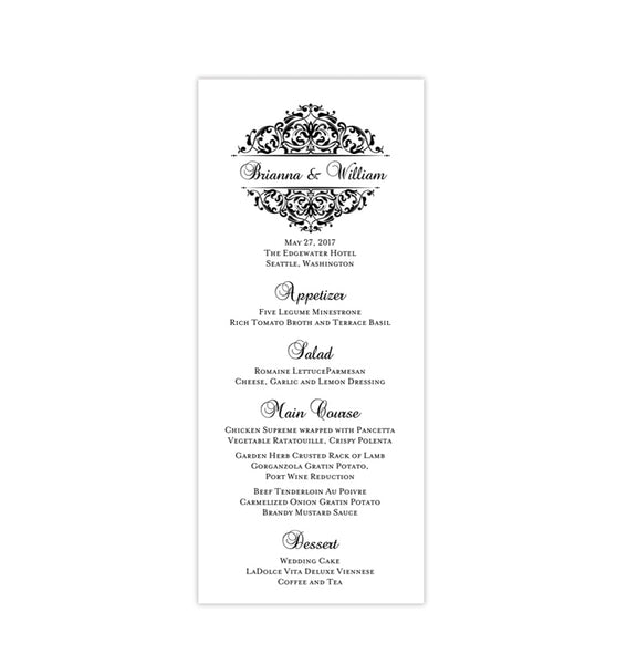 Wedding Menu Card Grace Black Tea Length Printable DIY Templates