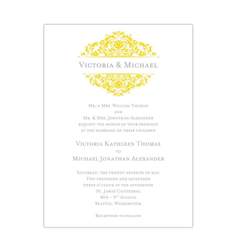 Grace Wedding Invitation Gray Yellow