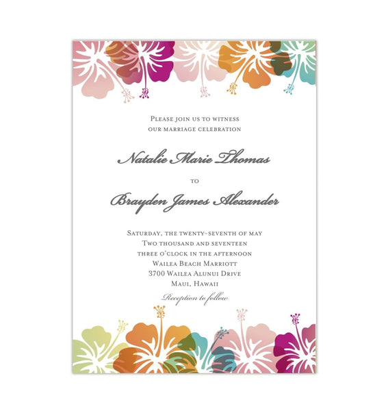 Hibiscus Wedding Invitation Tropical Printable DIY Template