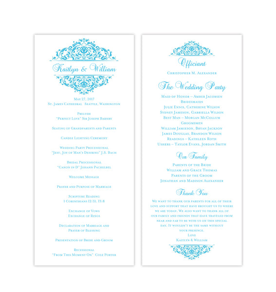 Slim Wedding Program Grace Malibu Blue Printable DIY Templates