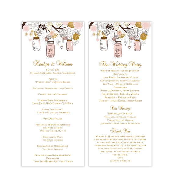 Slim Wedding Program Rustic Mason Jars Blush Pink Gold Printable DIY
