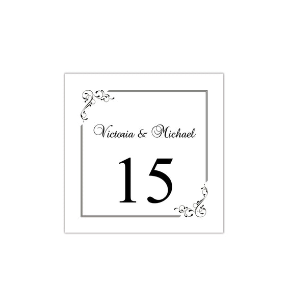 Printable Table Number Template Elegance Black White Tent DIY Wedding Templates
