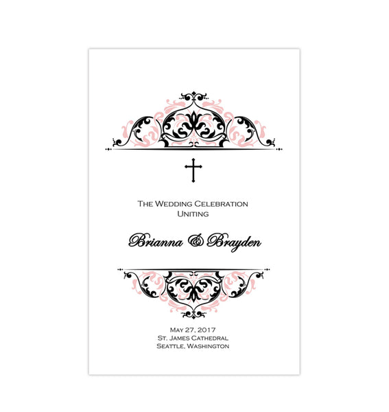 Catholic Church Wedding Program Grace Blush Pink Black Printable DIY