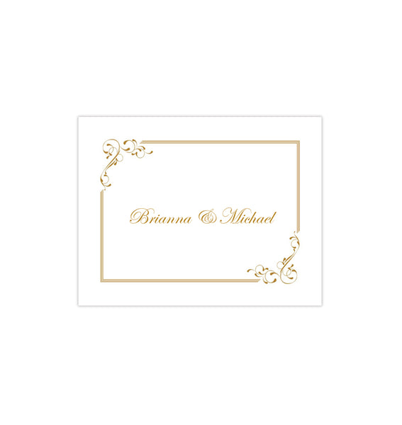 Wedding Thank You Card Elegance Gold Printable DIY Template