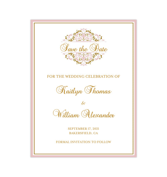 Wedding Save the Date Cards Grace Blush Pink Gold Printable DIY