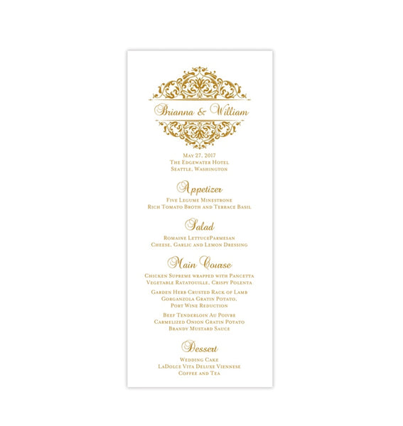 Wedding Menu Card Grace Gold Tea Length Printable DIY Templates