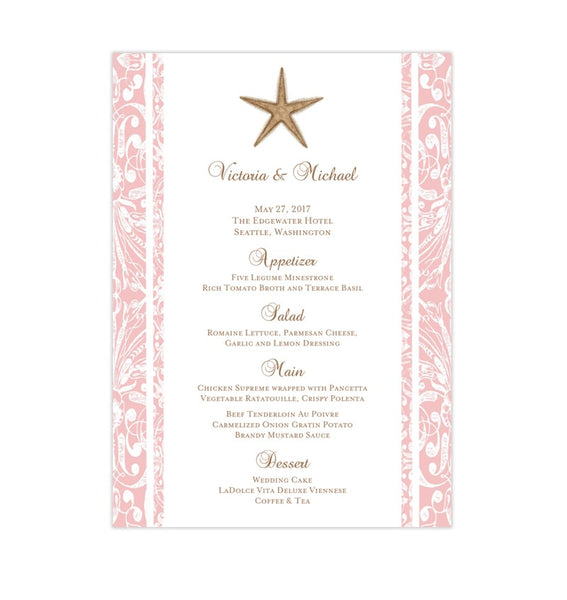 Wedding Reception Menu Template Beach Starfish Pink 5x7 Printable DIY