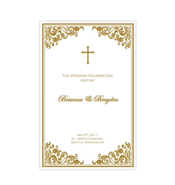 Catholic Church Wedding Program Faith Gold Printable DIY