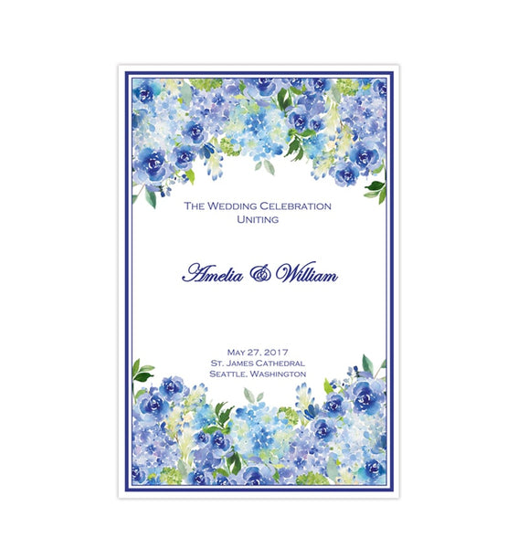 Catholic Church Wedding Program Amelia Blue Roses & Hydrangea Printable DIY