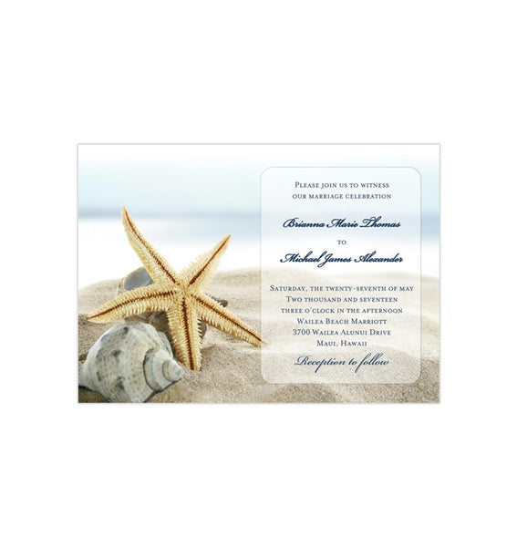 Starfish Wedding Invitation Beach Theme Printable DIY Templates