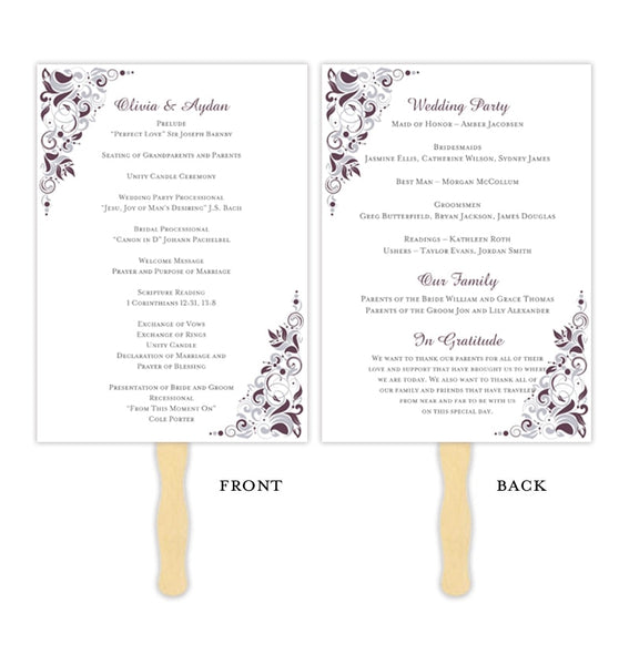 Wedding Program Fan Gianna Eggplant Silver Printable DIY Template