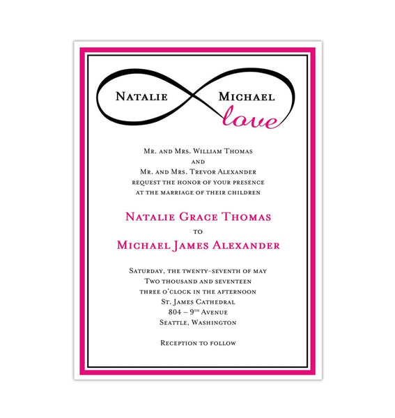 Infinity Love Wedding Invitation Hot Pink Black Printable DIY