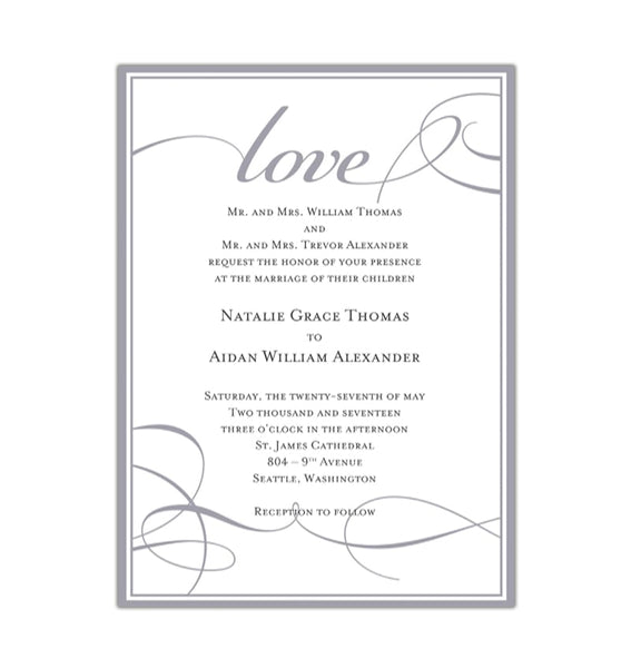 It's Love Wedding Invitation Gray Printable DIY Template