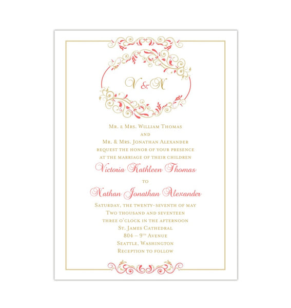 Madelyn Wedding Invitation Coral Champagne Printable DIY Templates