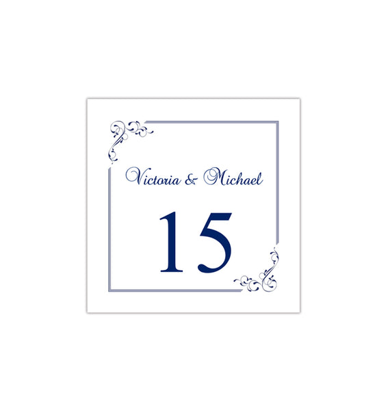 Printable Table Number Template Elegance Midnight Navy Blue Tent DIY Wedding Templates