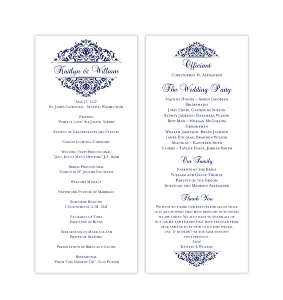 Slim Wedding Program Grace Navy Blue Printable DIY Templates