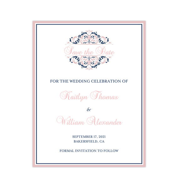 Wedding Save the Date Cards Grace Blush Pink Navy Blue Printable DIY