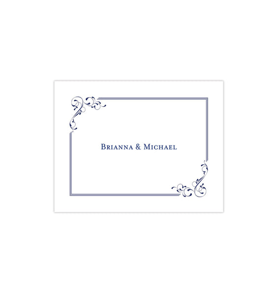 Wedding Thank You Card Elegance Navy Blue Printable DIY Templates