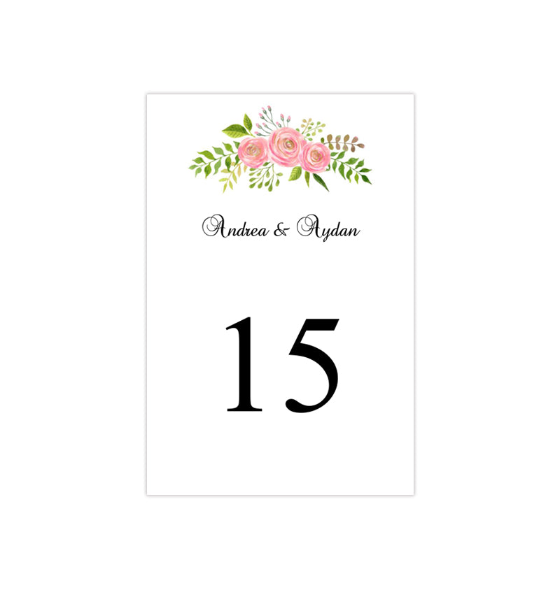 Wedding Table Number Template Floral 7 Watercolor Flowers Flat ...
