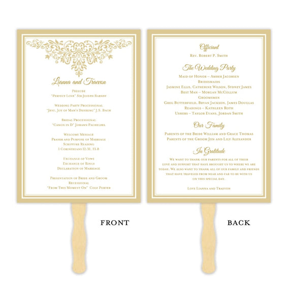 Wedding Program Fan Anna Maria Champagne Printable DIY Template