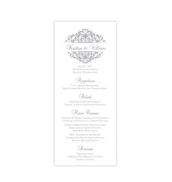 Wedding Menu Card Grace Gray Tea Length Printable DIY Template