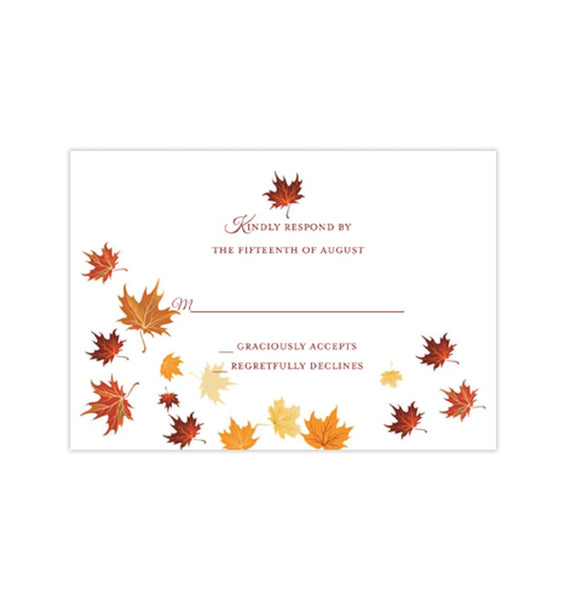 Wedding Response Cards Falling Leaves Red Orange Yellow Printable DIY Templates