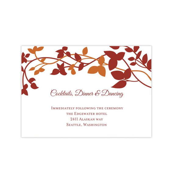 Wedding Reception Invitations Forever Entwined Fall Red Orange