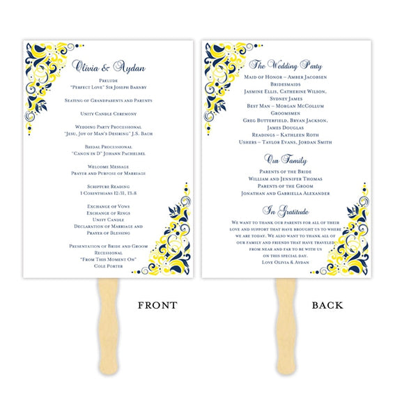 Wedding Program Fan Gianna Navy Blue Yellow Printable DIY Template