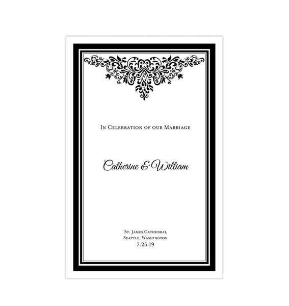 Wedding Program Template Anna Maria Black and White Printable DIY