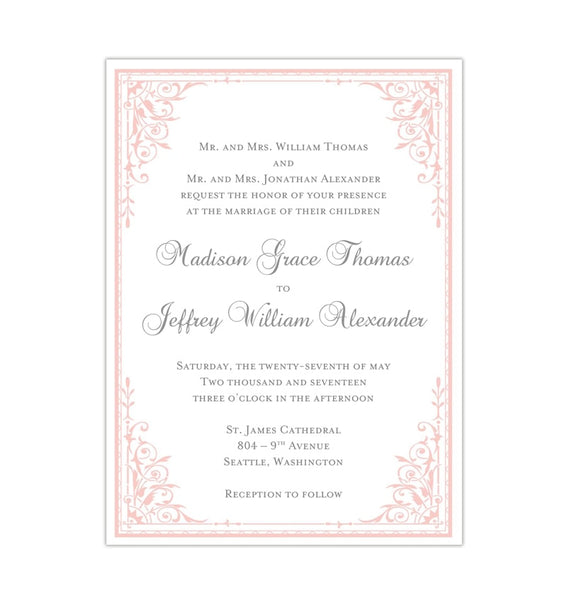 Maria Wedding Invitation Light Pink Printable DIY Templates