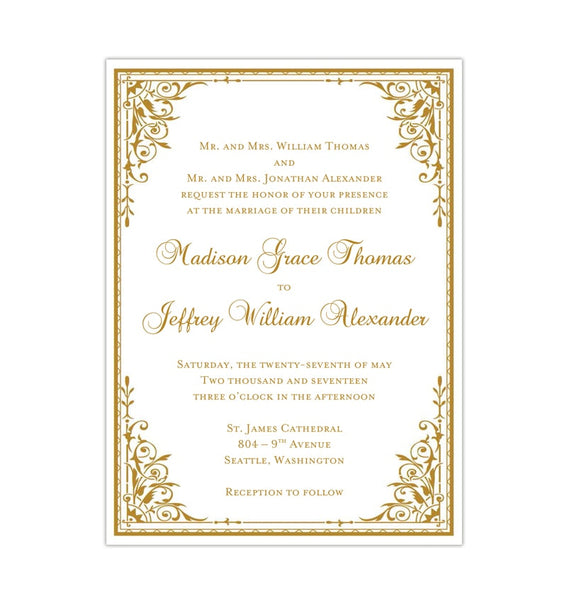 Maria Wedding Invitation Gold Printable DIY Template Anniversary