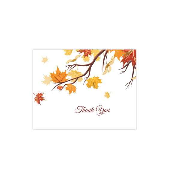 Wedding Thank You Card Falling Leaves Red Orange Yellow Printable DIY Templates