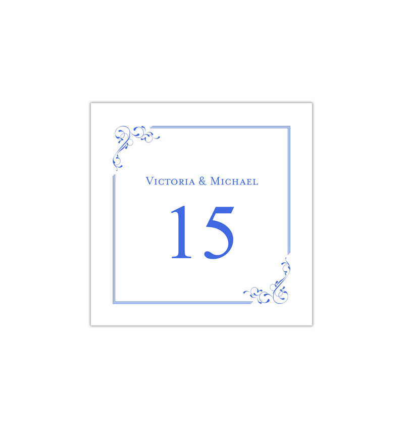 printable table number template elegance royal blue tent wedding