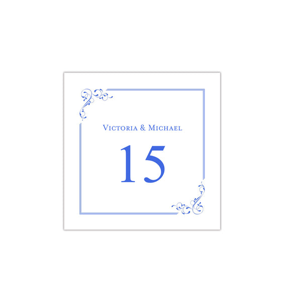 Printable Table Number Template Elegance Royal Blue Tent DIY Wedding Templates