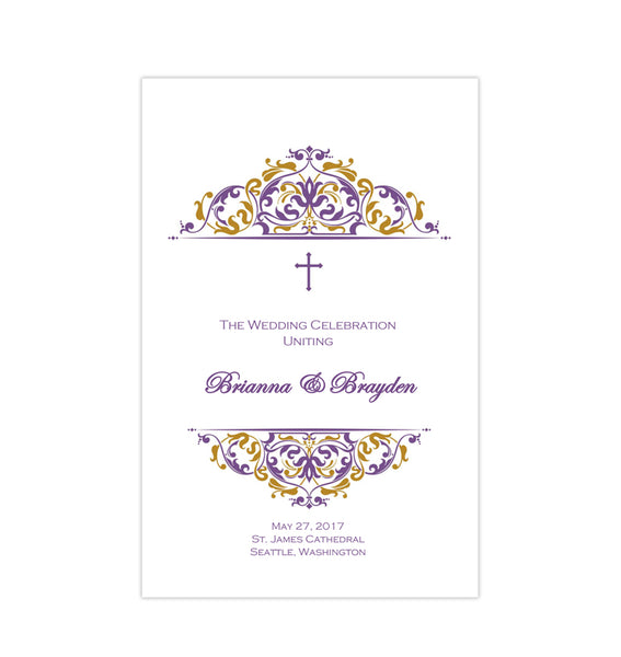 Catholic Church Wedding Program Grace Purple Gold Printable DIY
