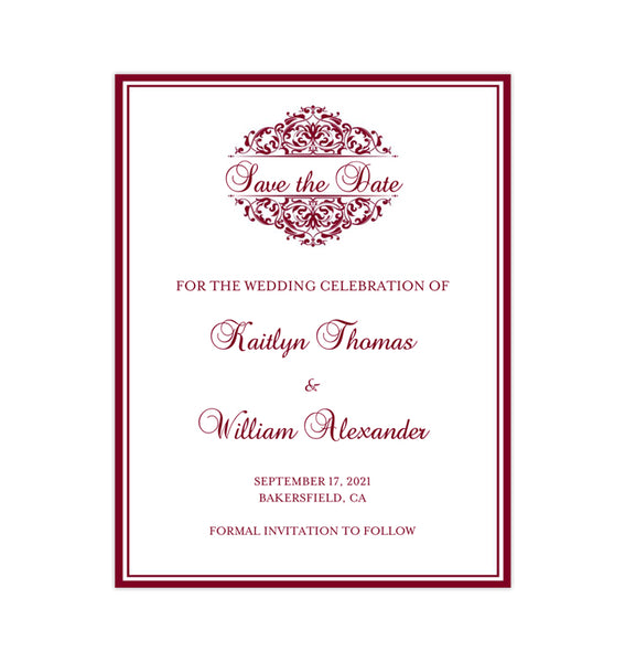 Wedding Save the Date Cards Grace Burgundy Printable DIY