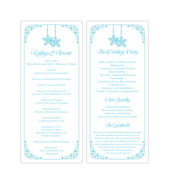 Slim Wedding Program Love on the Beach Malibu Blue Printable DIY Templates